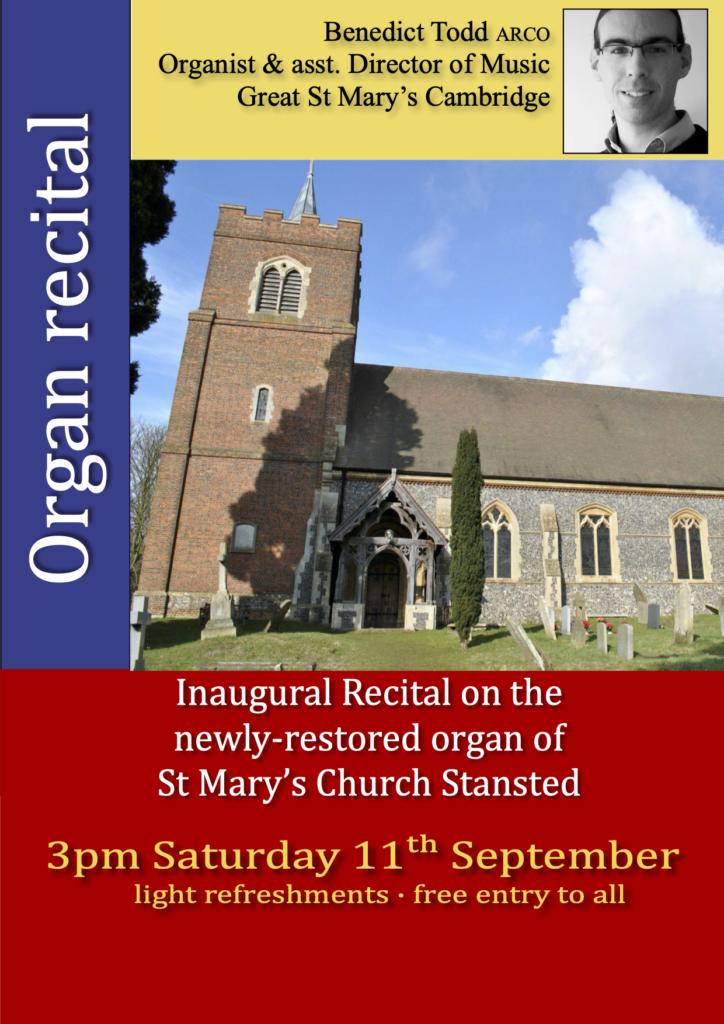 Organ Recital 3pm 11th Sept 2021